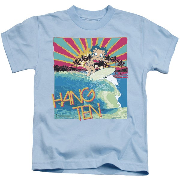 Boop/Hang Ten Short Sleeve Juvenile Graphic T-Shirt in Light Blue
