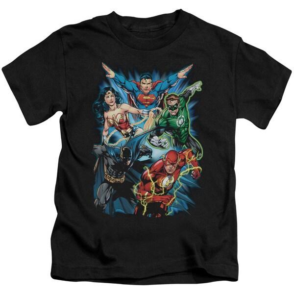 JLA/Jl Assemble Short Sleeve Juvenile Graphic T-Shirt in Black