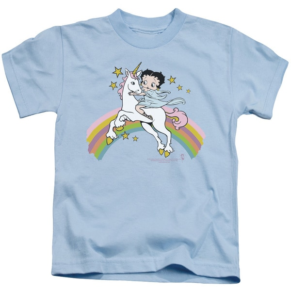 Boop/Unicorn & Rainbows Short Sleeve Juvenile Graphic T-Shirt in Light Blue