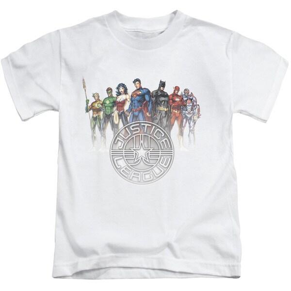 JLA/Circle Crest Short Sleeve Juvenile Graphic T-Shirt in White