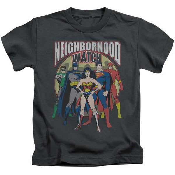 JLA/Neighborhood Watch Short Sleeve Juvenile Graphic T-Shirt in Charcoal