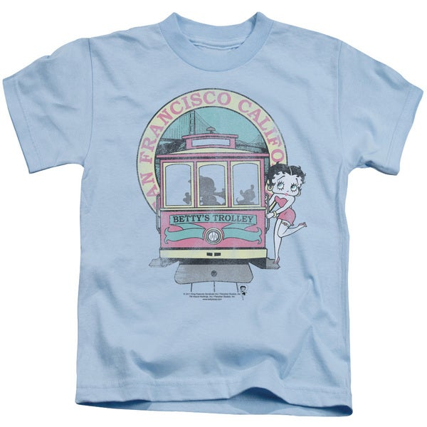 Boop/Betty's Trolley Short Sleeve Juvenile Graphic T-Shirt in Light Blue