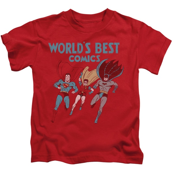 JLA/Worlds Best Short Sleeve Juvenile Graphic T-Shirt in Red