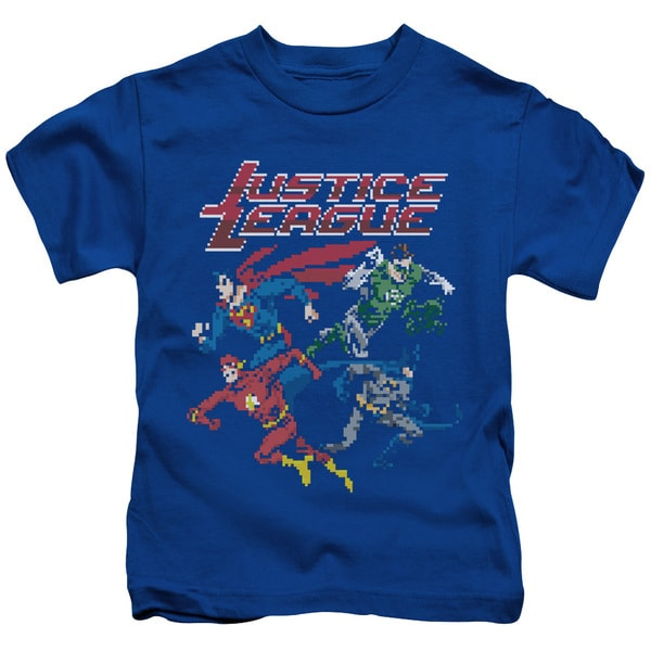 JLA/Pixel League Short Sleeve Juvenile Graphic T-Shirt in Royal Blue