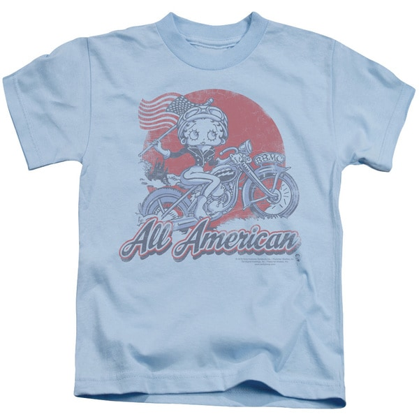 Boop/All American Biker Short Sleeve Juvenile Graphic T-Shirt in Light Blue