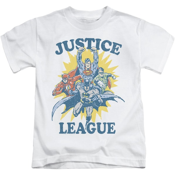 JLA/Let's Do This Short Sleeve Juvenile Graphic T-Shirt in White