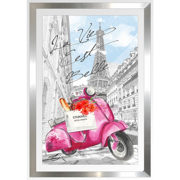 "BY Jodi ""Scoot Around Paris In Pink"" Framed Plexiglass Wall Art"