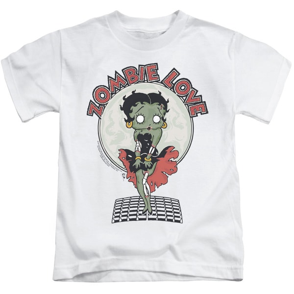 Betty Boop/Breezy Zombie Love Short Sleeve Juvenile Graphic T-Shirt in White