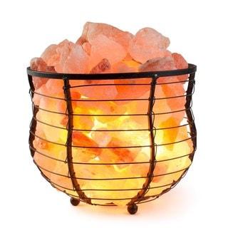 Metal Basket Bowl Lamp with Natural Himalayan Salt Chips