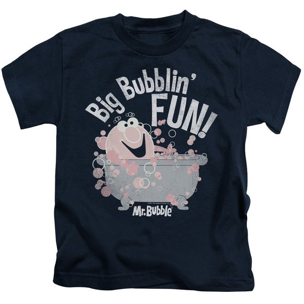 Mr Bubble/Big Bubblin Fun Short Sleeve Juvenile Graphic T-Shirt in Navy