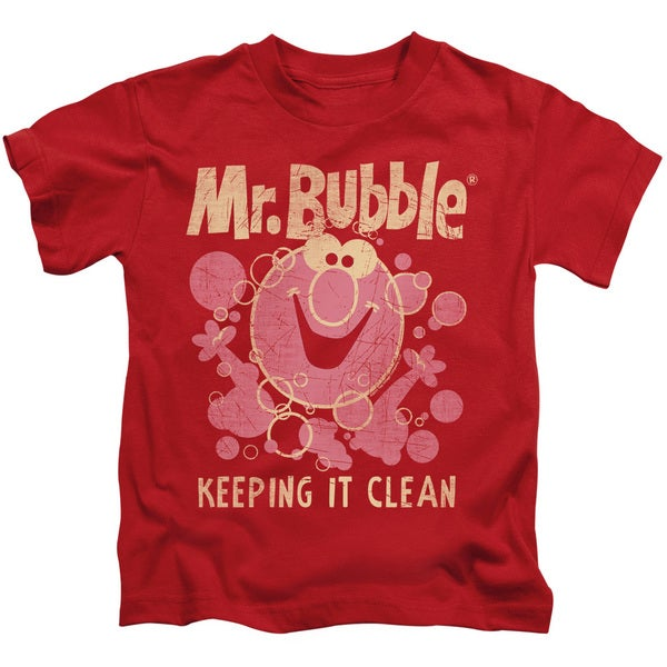Mr Bubble/Keeping It Clean Short Sleeve Juvenile Graphic T-Shirt in Red