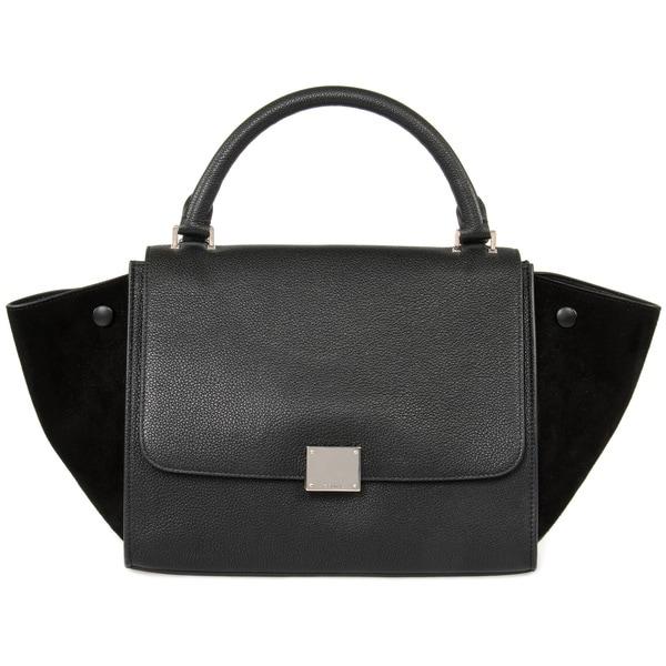 Celine Trapeze Handbag in Black Calfskin w/ Silver Hardware Size Small