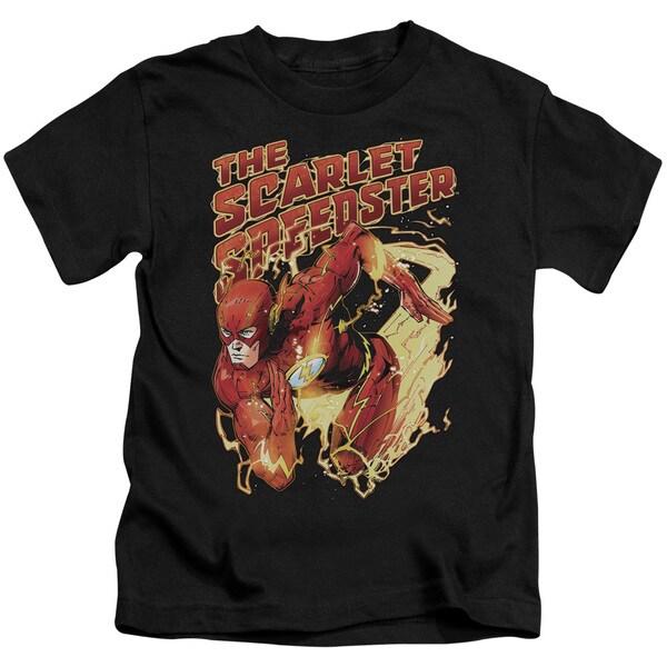 JLA/Scarlet Speedster Short Sleeve Juvenile Graphic T-Shirt in Black