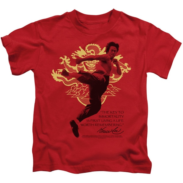 Bruce Lee/Immortal Dragon Short Sleeve Juvenile Graphic T-Shirt in Red
