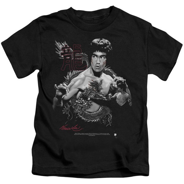 Bruce Lee/The Dragon Short Sleeve Juvenile Graphic T-Shirt in Black