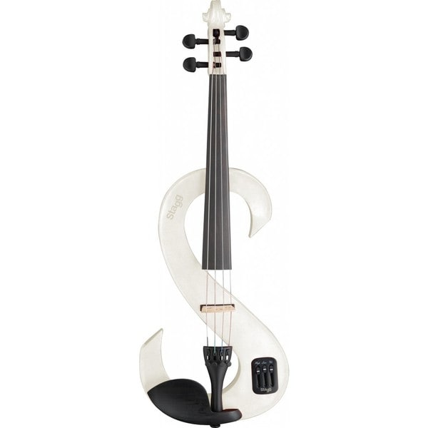 Stagg EVN 4/4 WH White Lacquered Maple Electric Violin Set with Soft Case and Headphones