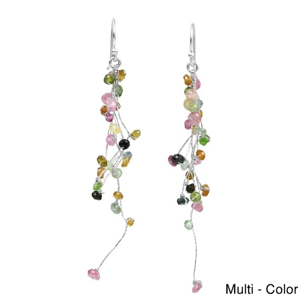Gemstones Icicle Drop Natural Stones .925 Silver Earrings (Thailand)