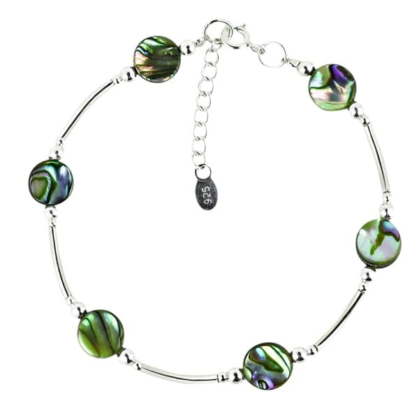 Round Links of Natural Stones Sterling Silver Bracelet (Thailand)