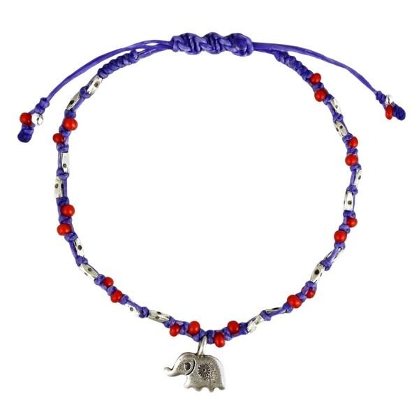 Handmade Thai Elephant Karen HillTribe Sterling Silver Royal Rope Bracelet (Thailand) 20728572