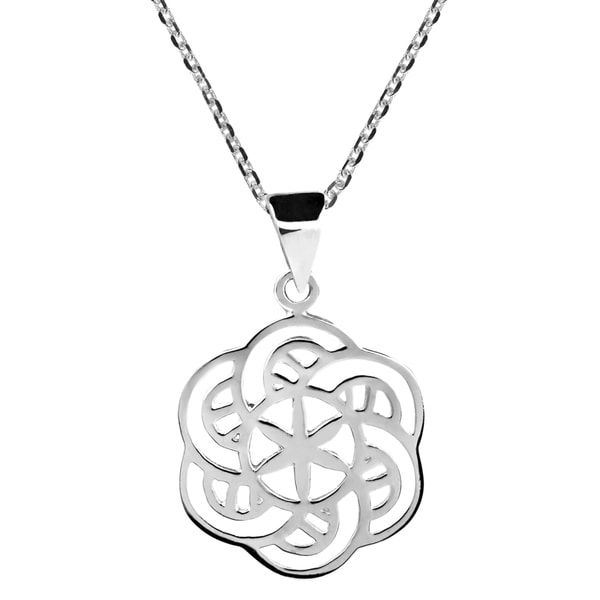 New Age Balance Flower of Life Sterling Silver Necklace (Thailand)