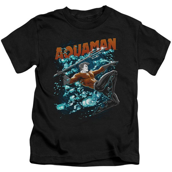 JLA/Aqua Bubbles Short Sleeve Juvenile Graphic T-Shirt in Black