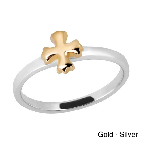 Peaceful Balanced Cross Gold Over Sterling Silver Ring (Thailand)