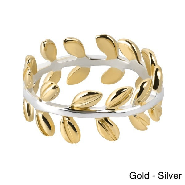 Serenity Leaf Wrap Ivy Band Gold over .925 Silver Ring (Thailand)