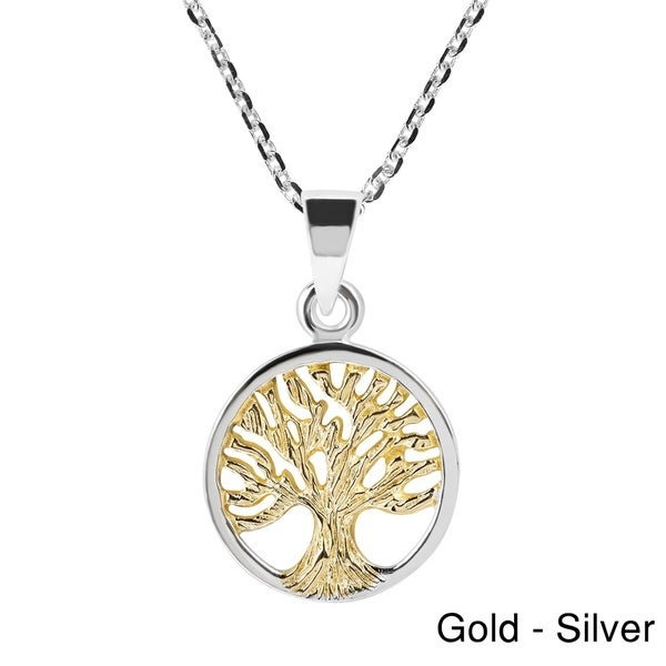 Spirituality Tree of Life Gold Over .925 Silver Necklace (Thailand)