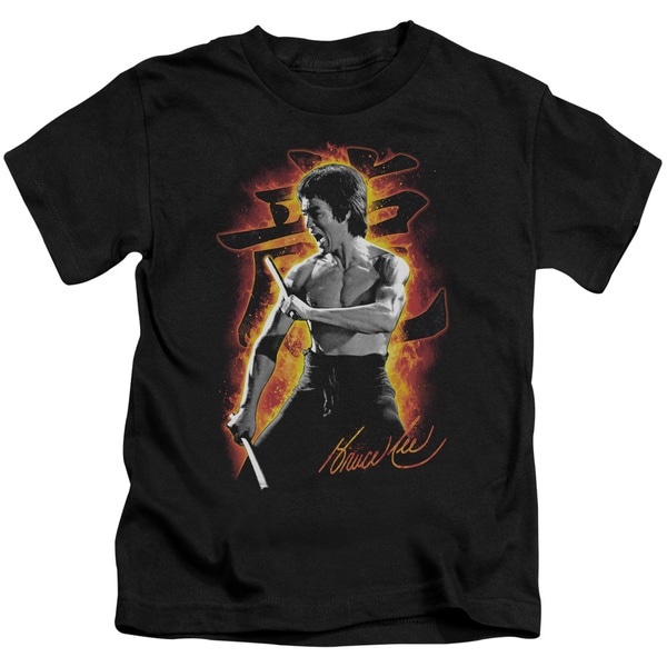 Bruce Lee/Dragon Fire Short Sleeve Juvenile Graphic T-Shirt in Black