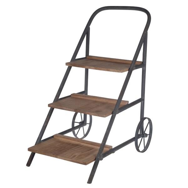 Lilou Metal/Wood 16-inch x 11-inch x 20-inch Flower-sShelf Cart
