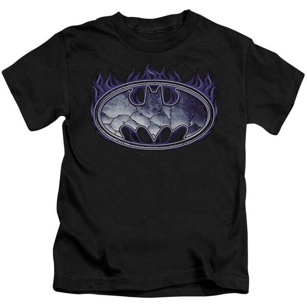 Batman/Cracked Shield Short Sleeve Juvenile Graphic T-Shirt in Black