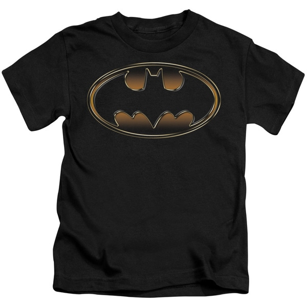 Batman/Black & Gold Embossed Shield Short Sleeve Juvenile Graphic T-Shirt in Black