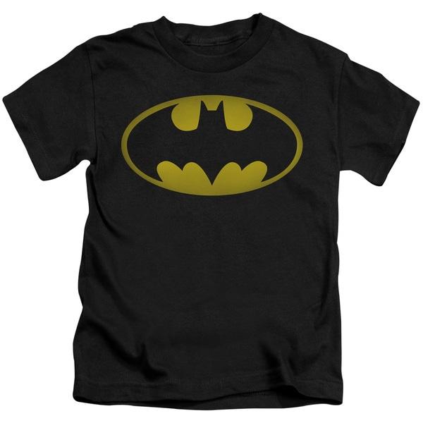 Batman/Washed Bat Logo Short Sleeve Juvenile Graphic T-Shirt in Black