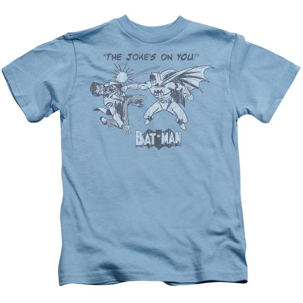 Batman/The Joke's On You Short Sleeve Juvenile Graphic T-Shirt in Carolina Blue