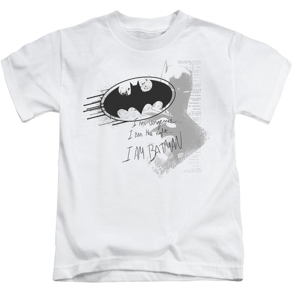 Batman/I Am Vengeance Short Sleeve Juvenile Graphic T-Shirt in White
