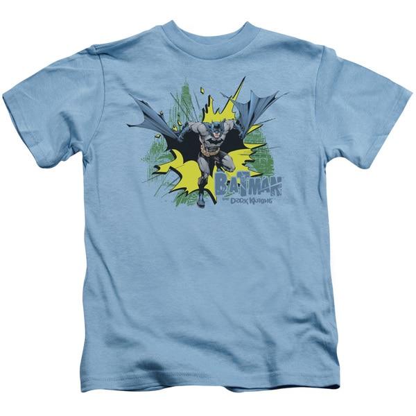 Batman/City Splash Short Sleeve Juvenile Graphic T-Shirt in Carolina Blue