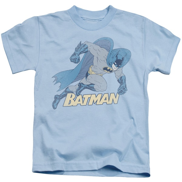 Batman/Running Retro Short Sleeve Juvenile Graphic T-Shirt in Light Blue