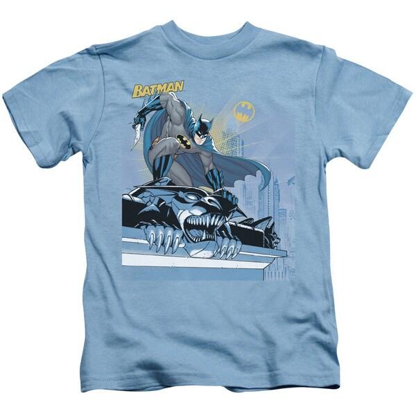 Batman/Two Gotham Gargoyles Short Sleeve Juvenile Graphic T-Shirt in Carolina Blue