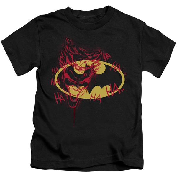 Batman/Joker Graffiti Short Sleeve Juvenile Graphic T-Shirt in Black
