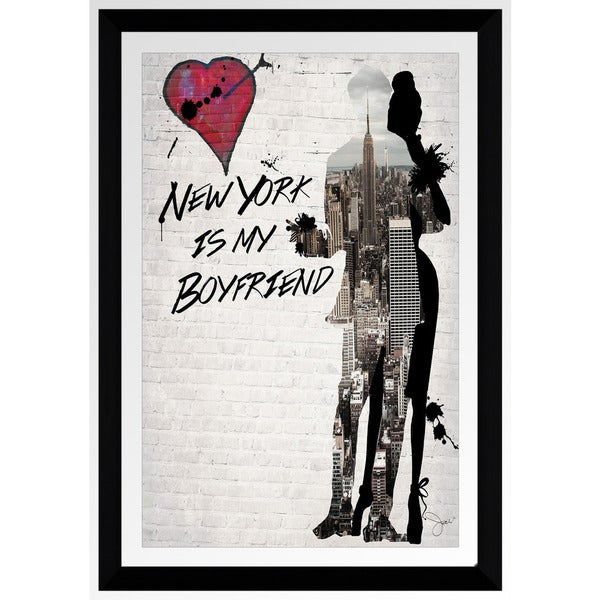 "BY Jodi ""New York Is My Boyfriend"" Framed Plexiglass Wall Art"
