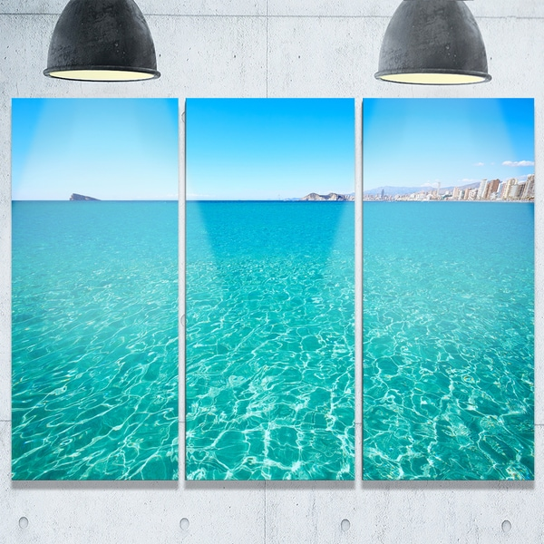 Blue Benidorm Levante Beach - Seashore Metal Wall At - 36Wx28H