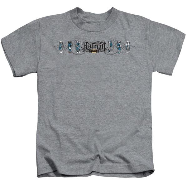 Batman/Skateboard Bats Short Sleeve Juvenile Graphic T-Shirt in Heather