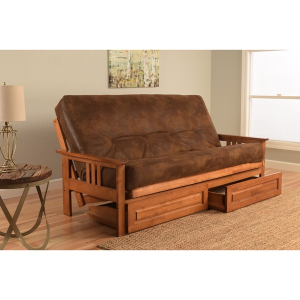 Somette Beli Mont Futon Set with Barbados Frame, Palomino Tobacco Mattress and Storage Drawers
