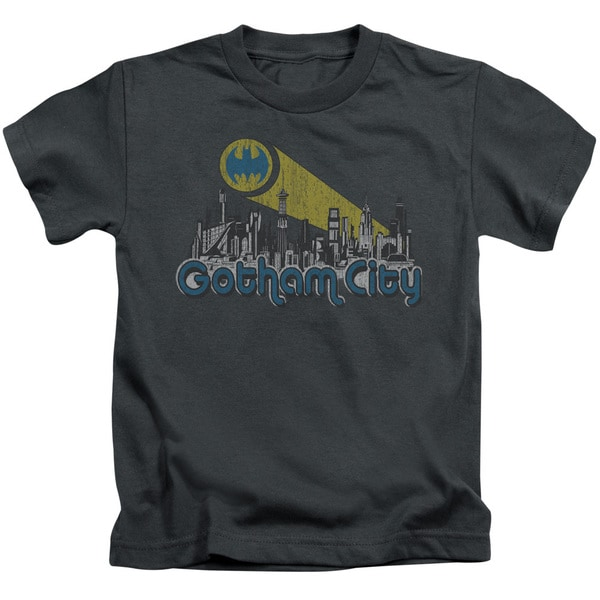 Batman/Gotham City Distressed Short Sleeve Juvenile Graphic T-Shirt in Charcoal