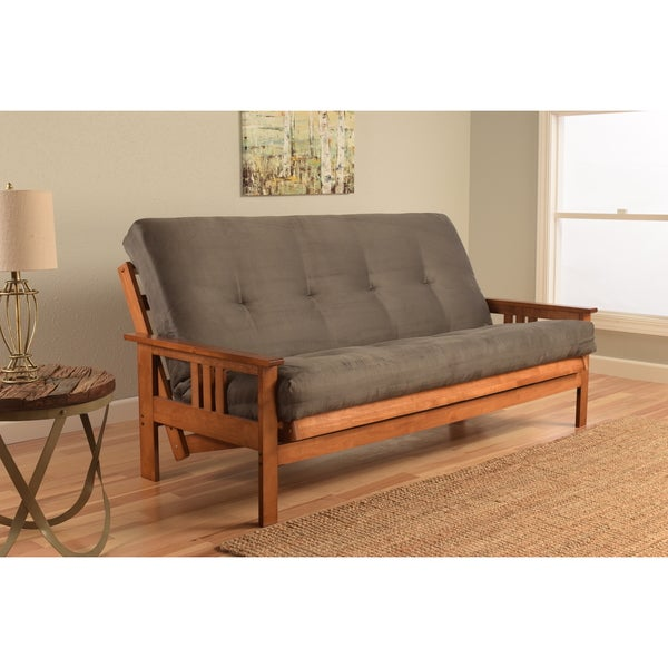 Somette Beli Mont Grey Wood/Fabric Full-size Futon Set