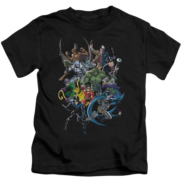 Batman/Saints and Psychos Short Sleeve Juvenile Graphic T-Shirt in Black