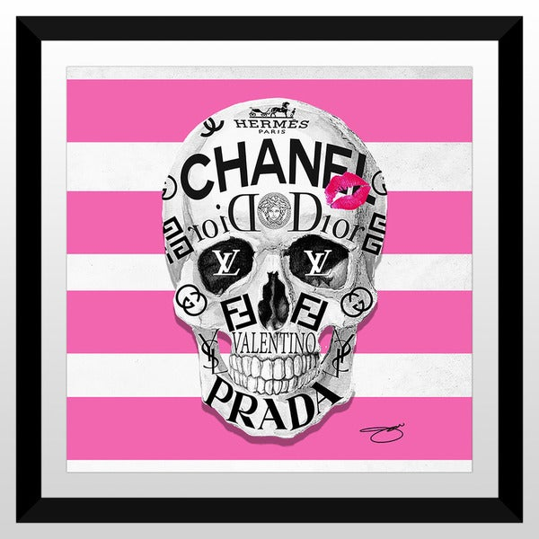 """BY Jodi """"Couture To The Bone ( Pink)"""" Framed Plexiglass Wall Art"""