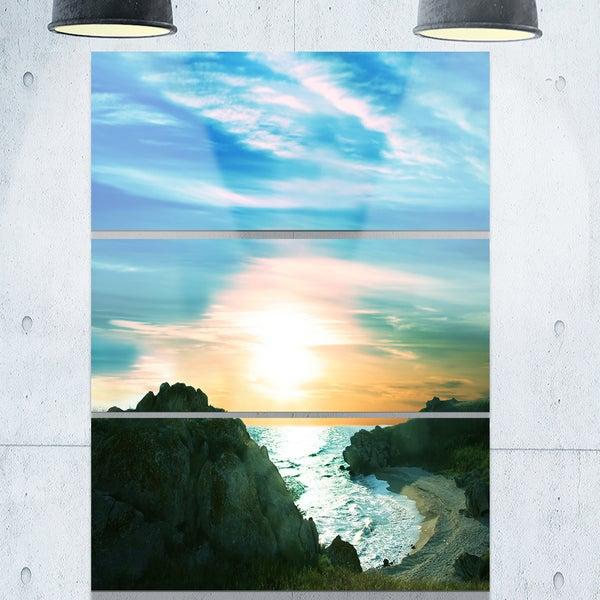 White Waters among Beach Hills - Large Seashore Metal Wall At - 36Wx28H