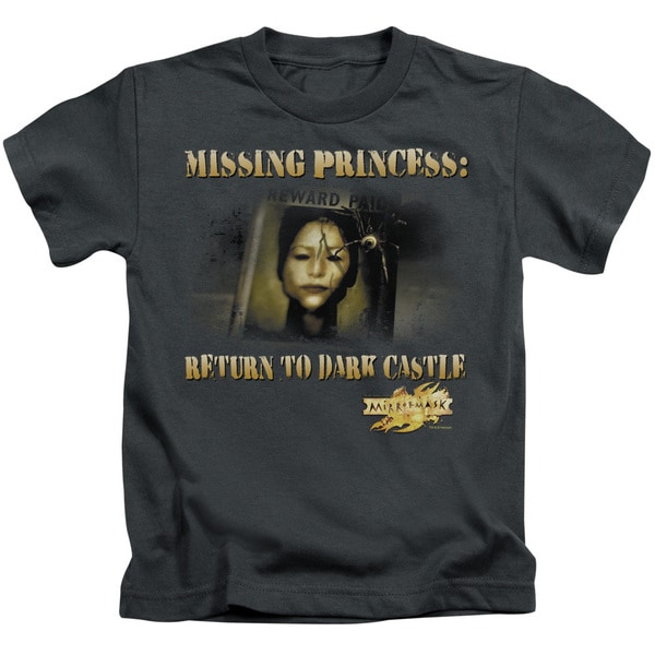 Mirrormask/Missing Princess Short Sleeve Juvenile Graphic T-Shirt in Charcoal