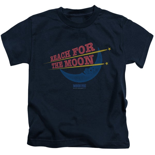 Moon Pie/Reach For The Moon Short Sleeve Juvenile Graphic T-Shirt in Navy